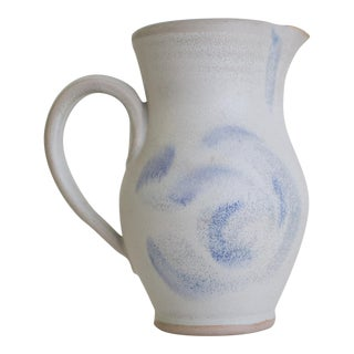 Late 20th C. Vintage Hand-Thrown Ceramic Pitcher