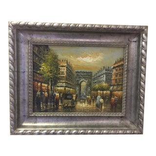 Parisian Street Scene Painting, Oil on Canvas