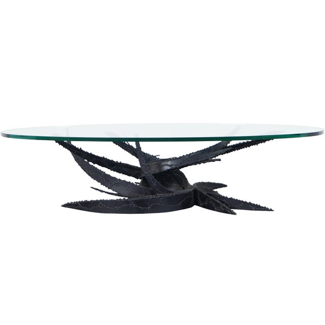 "Vintage ""Swirl"" Glass Coffee Table by Daniel Gluck For Sale - Image 9 of 9"