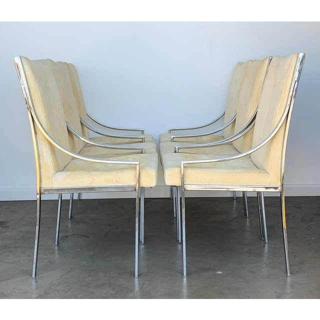 A great set of 6 chrome dining chairs attributed to Milo Baughman. These elegant mid century modern dining chairs feature...