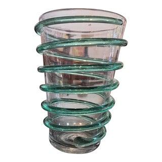 Vintage Blenko Mint Green and Transparent Handblown Glass Vase For Sale