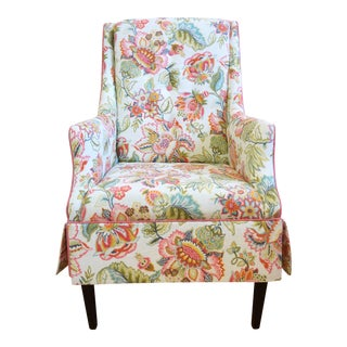 Traditional Reupholstered Arm Chair For Sale