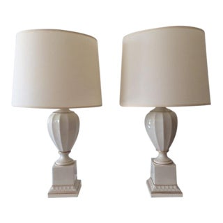 Vintage Ceramic Neoclassical Table Lamps - A Pair For Sale