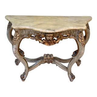 Early 20th Century Italian Carved and Painted Console Table For Sale