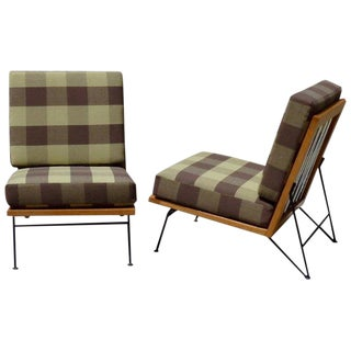 Pair of Pipsan Saarinen Swanson Wood Frame Wrought Iron Leg Lounge Chairs For Sale