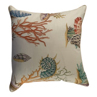 Nautical Clarence House Seashell Motif Pillow Newly Made For Sale
