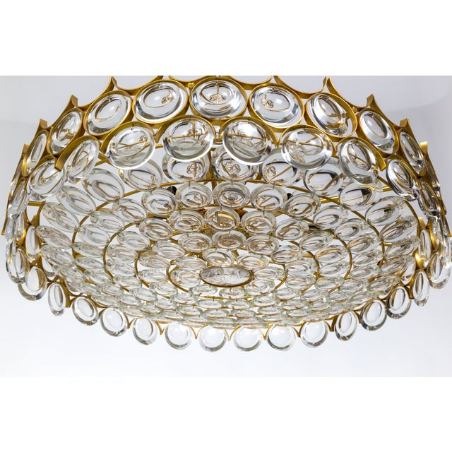 Large Palwa Circular Gilt Brass and Optical Lens Crystal Chandelier (2 Available) For Sale In San Francisco - Image 6 of 11