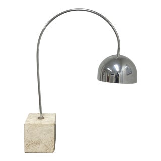 Mid 20th Century Harvey Guzzini Arc Chrome + Travertine Table Lamp For Sale