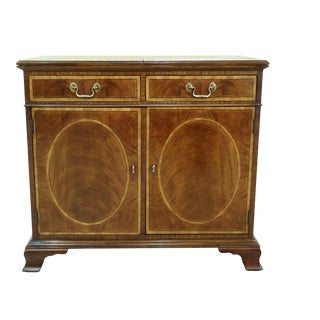 Henredon Flip Top Inlaid Mahogany Server Cabinet For Sale