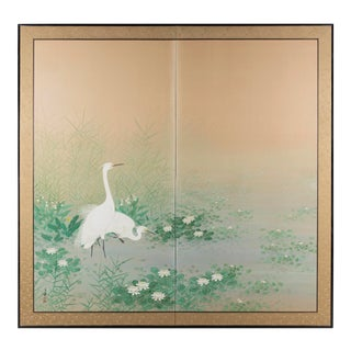 """Egrets Amongst Lotuses"" Byobu Screen For Sale"
