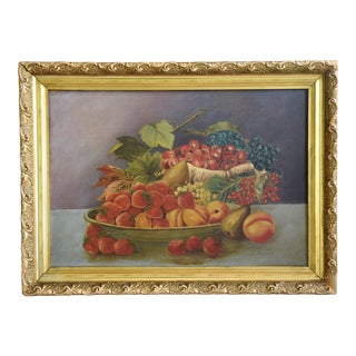 Antique Colorful Fruit Still Life Painting For Sale