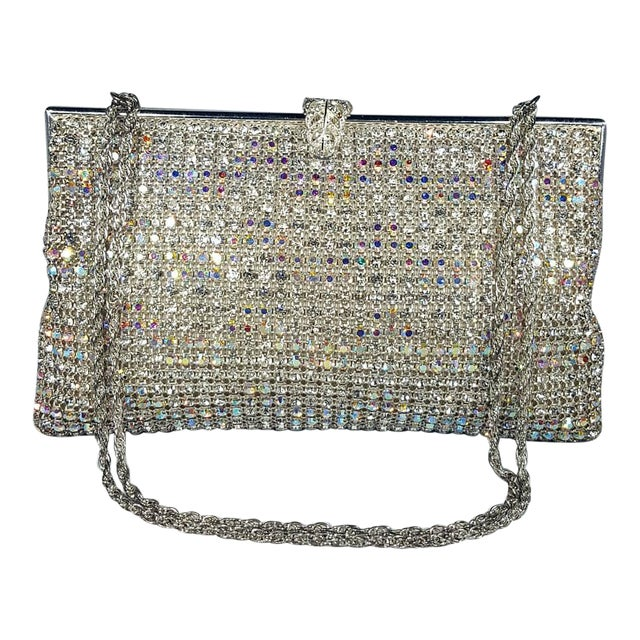 Vintage Swarovski Crystal Evening Bag With Hidden Chain For Sale