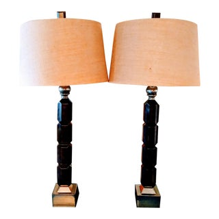 Mid Century Modern Tall Metal Wood Table Lamps With Burlap Shades - a Pair For Sale