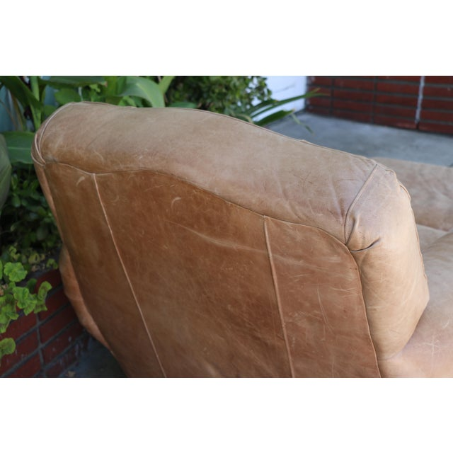 Vintage Leather Club Chair and Ottoman Set For Sale In Los Angeles - Image 6 of 8