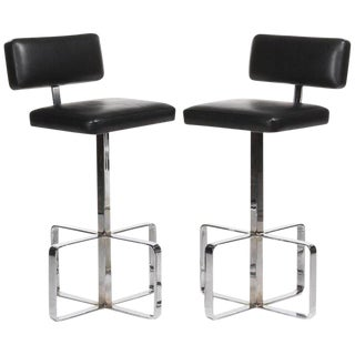 1970s Mid-Century Modern Chrome and Leather Swivel Barstools - a Pair