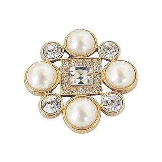 1980s Monet Goldtone Faux-Pearl & Rhinestone Brooch For Sale
