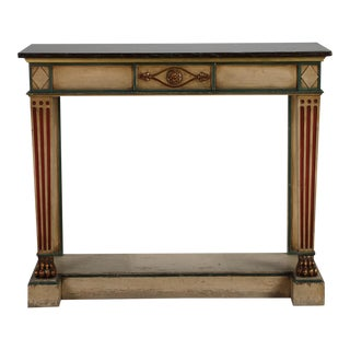 Venetian Console With Original Paint and Dark Marble Top For Sale