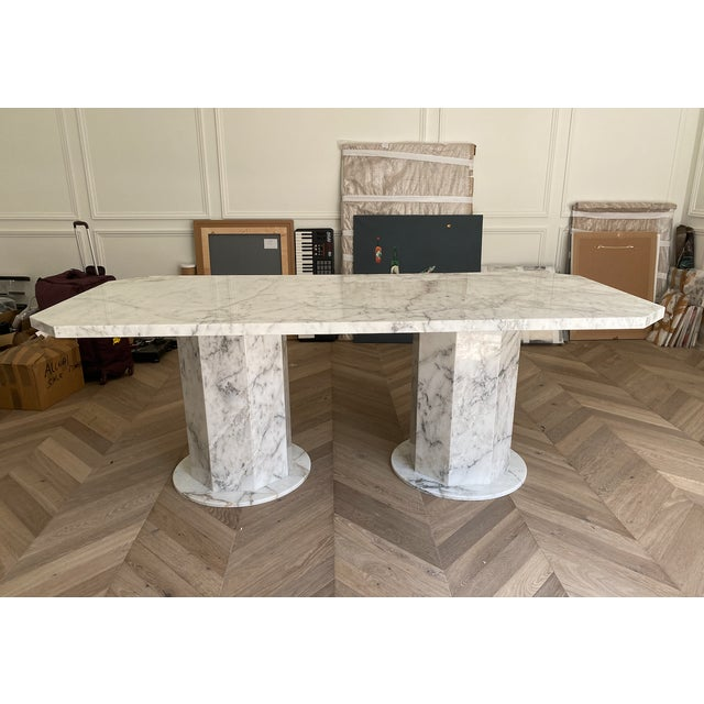 White Arabescato Marble Dining Table For Sale - Image 8 of 8