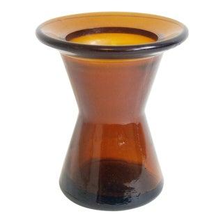 Dansk Jens Quistgaard Amber Hourglass Shaped Candle Holder or Bud Vase 1960 For Sale
