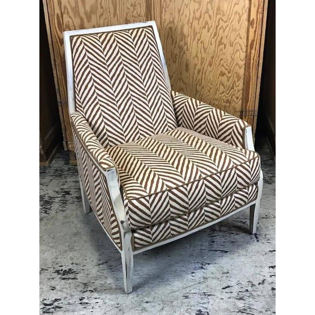 Moderne White -Washed Framed Bergere Chair with Custom Upholstery - Image 3 of 7