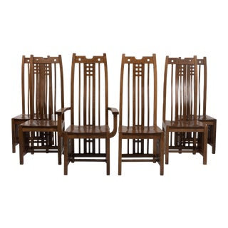 Prairie School Arts & Crafts Mission Dining Chairs - Set of 6 For Sale