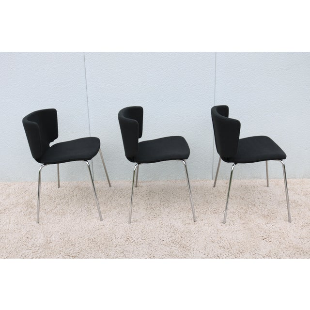 Modern Spain Mark Krusin for Coalesse Wrapp Stackable Black Guest Chair For Sale - Image 10 of 13