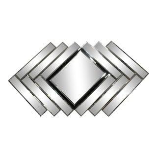 Vintage Large Postmodern Diamond Repeat Mirror For Sale