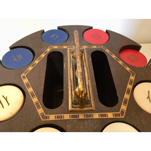 1950s Vintage Poker Chip Carousel Wood Caddy With Cover For Sale - Image 5 of 10
