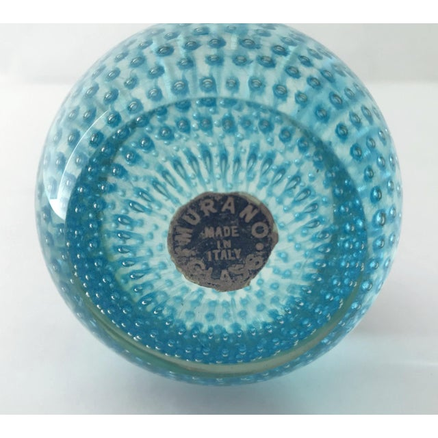 1960s Blue Bollicine Italian Murano Glass Paperweight For Sale In Palm Springs - Image 6 of 7