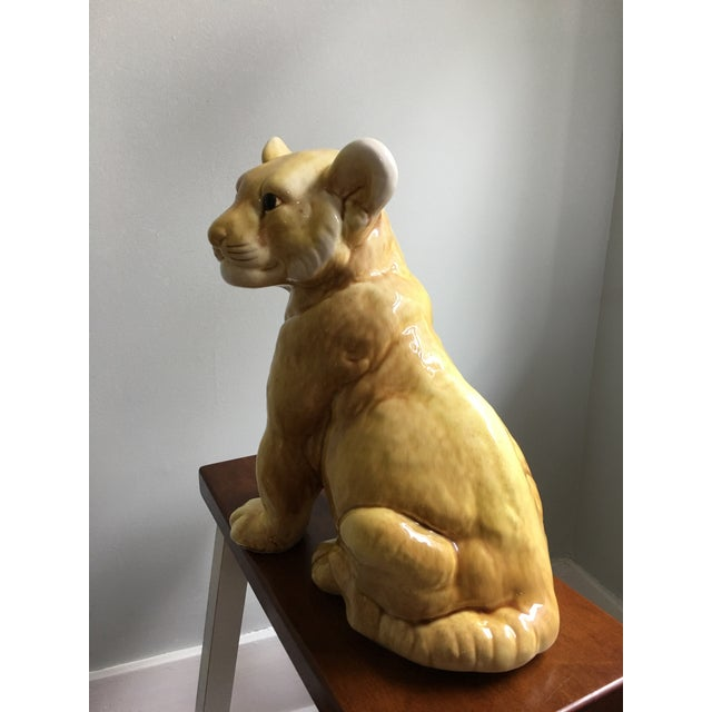 Vintage Eclectic Life-Size Ceramic Lion Cub For Sale In Savannah - Image 6 of 8