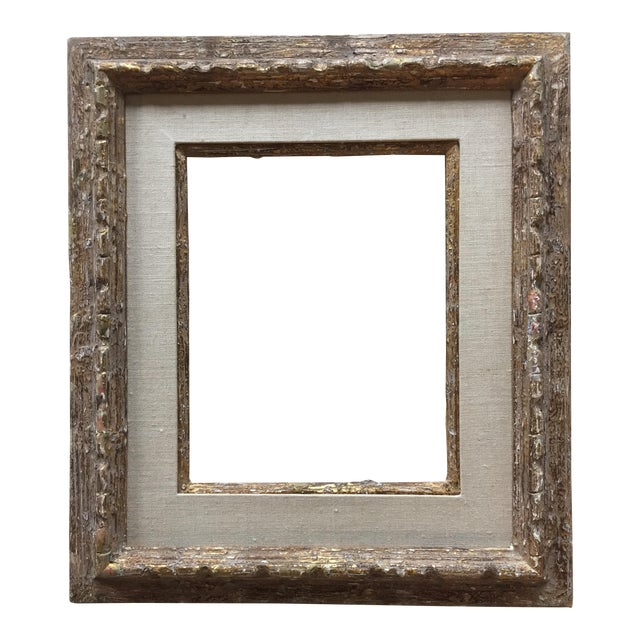 Mid-Century Distressed Gold & Painted Wood Frame | Chairish