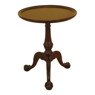 Chippendale Henredon Round Mahogany Clawfoot Occasional Table For Sale