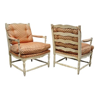 Vintage Mid-Century French Country Armchairs - A Pair For Sale