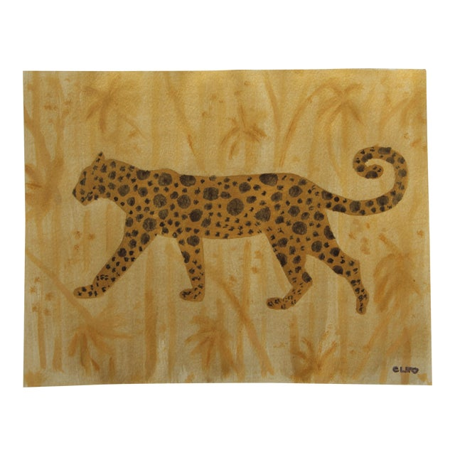 Chinoiserie Pather Leopard Painting by Cleo Plowden For Sale