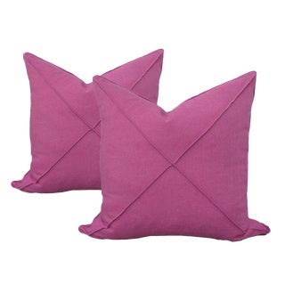 Transitional Magenta Linen Pillows - a Pair For Sale