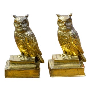 Vintage Brass Owl Bookends - a Pair For Sale