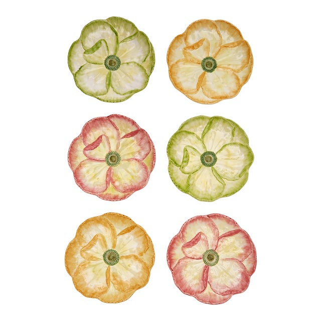 Moda Domus x Chairish Exclusive Dessert Plates in Green, Yellow, and Pink - Set of 6 For Sale