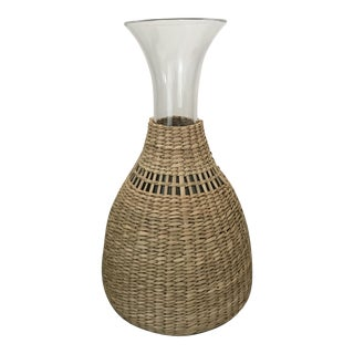 Vintage Mid-Century Modern Woven Raffia Wrapped Wine Carafe/Decanter
