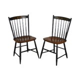 Image of Hitchcock Black Painted Maple Stenciled Windsor Pair Side Chairs For Sale