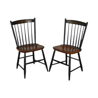 Hitchcock Black Painted Maple Stenciled Windsor Pair Side Chairs For Sale