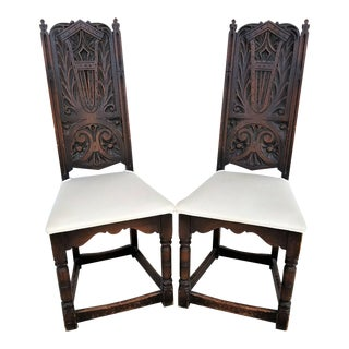 Antique c 1800's English Tudor Style Dining Chairs - A Pair For Sale
