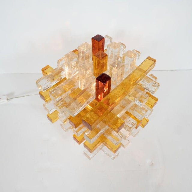 Mid-Century Modern Cubist Veronese Amber Hued Glass Table Lamp by Poliarte For Sale - Image 11 of 13