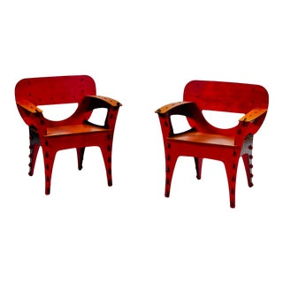 1990's Vintage David Kawecki Puzzle Chairs - A Pair For Sale