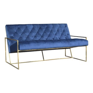 Modern Blue Tufted Bench For Sale