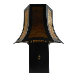 Pagoda Blackened Steel Table Lamp For Sale