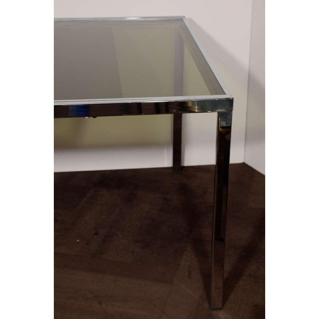 Silver Mid-Century Chrome and Grey Glass Extension Dining Table by DIA For Sale - Image 8 of 10