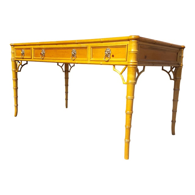 Baker Furniture Chippendale Faux Bamboo Desk For Sale
