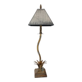 Faux Bamboo and Monkey Under Palm Lamp For Sale