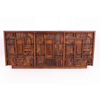 Mid Century Paul Evans Style Lane Pueblo Brutalist Walnut 9 Drawer Lowboy Dresser Preview