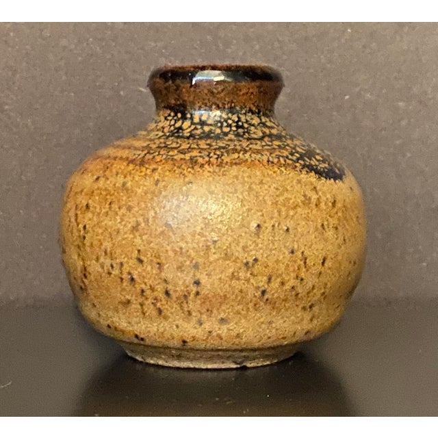 Rustic Vintage Mid Century Handmade Miniature Pottery Bud Vase For Sale - Image 3 of 7